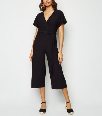 Black Crinkle Wrap Jumpsuit