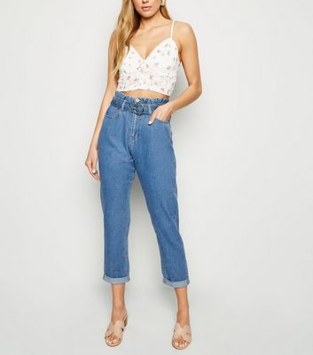 Blue Tapered Paperbag Jeans