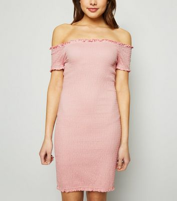Pale Pink Bardot Shirred Jersey Mini Dress
