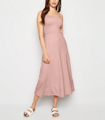 Pale Pink Shirred Jersey Midi Dress