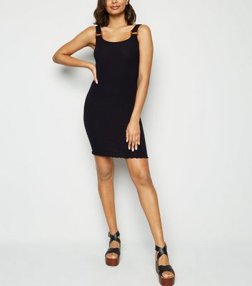 Black Buckle Ribbed Bodycon Dress