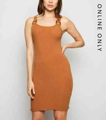 Rust Buckle Ribbed Bodycon Dress