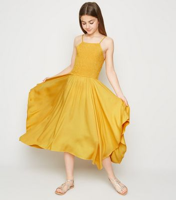 Girls Mustard High Neck Hanky Hem Dress
