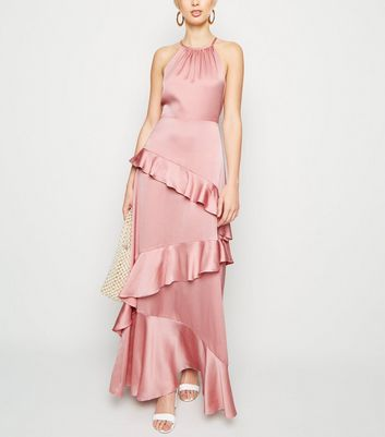 Mid Pink Satin Ruffle Trim Maxi Dress