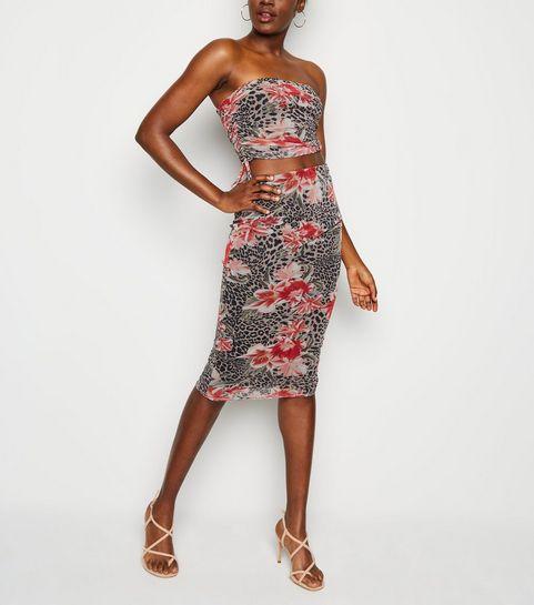 5991d138f3b ... Brown Floral Leopard Print Mesh Midi Skirt ...