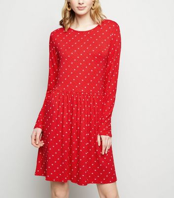 Red Floral Long Sleeve Jersey Smock Dress