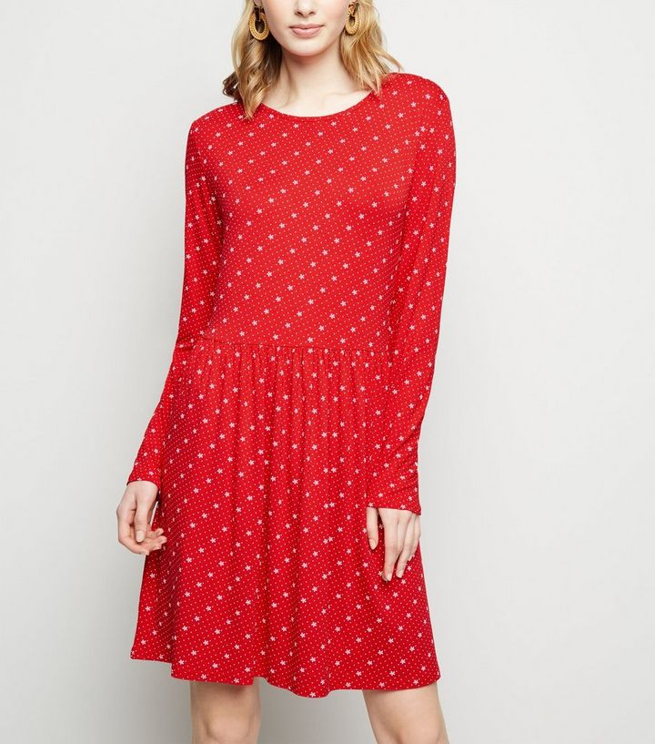 63e5fd313d5 Red Floral Long Sleeve Jersey Smock Dress