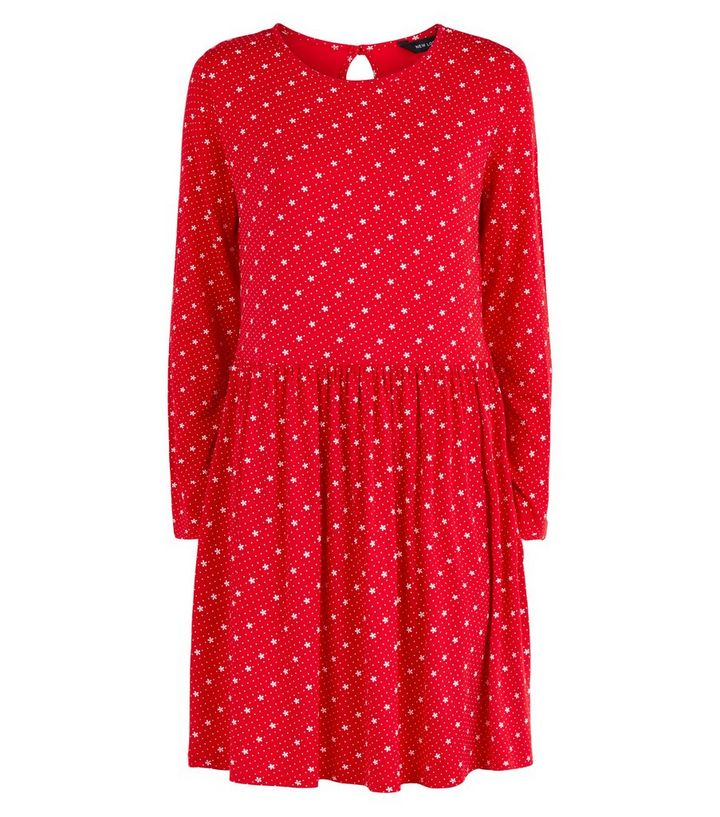 d7081534d71 ... Red Floral Long Sleeve Jersey Smock Dress. ×. ×. ×. Shop the look
