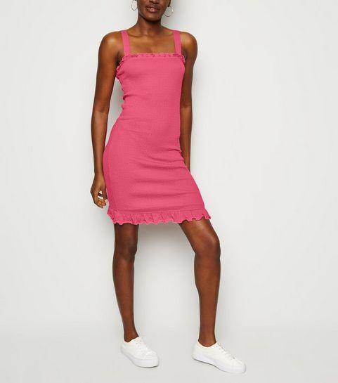 c625d903688ed ... Deep Pink Strappy Shirred Mini Dress ...