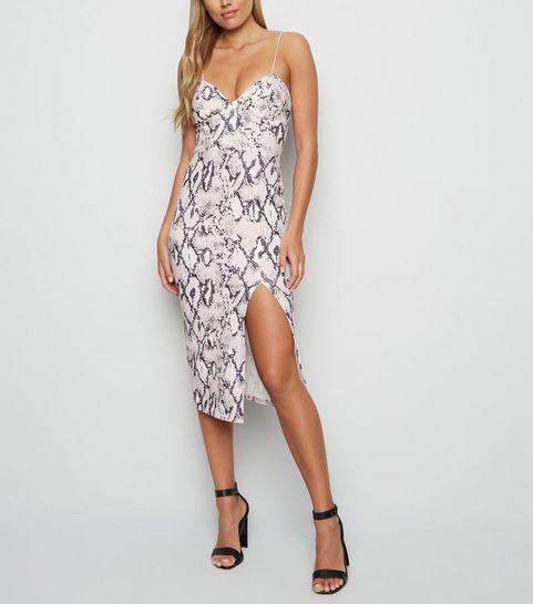 a26a8e7ba89 ... Off White Snake Print Bustier Midi Bodycon Dress ...