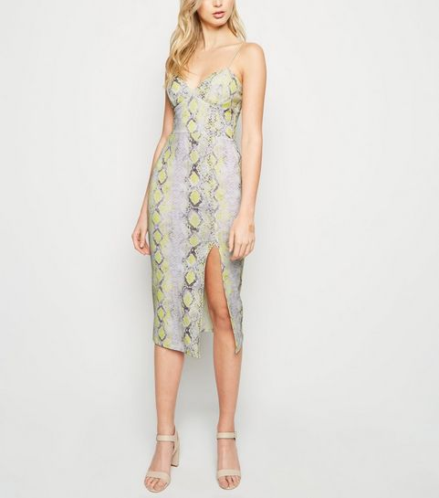 837826fd00 ... Yellow Snake Print Bustier Midi Bodycon Dress ...