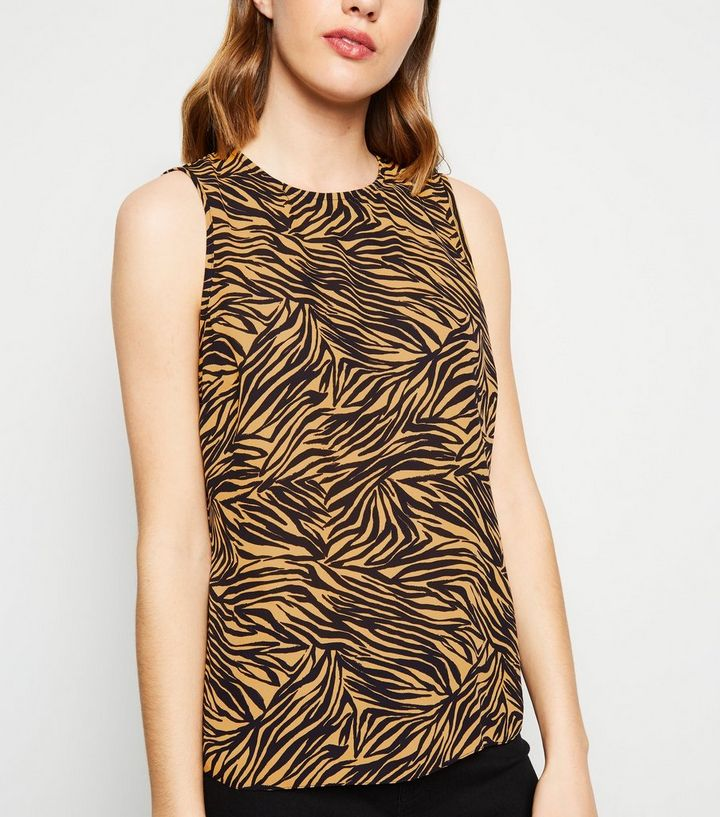e414992261f1c3 Brown Tiger Print Sleeveless Top | New Look