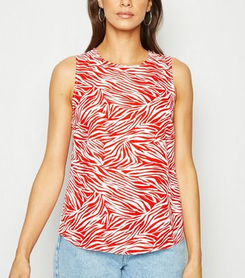 Red Zebra Print Sleeveless Top