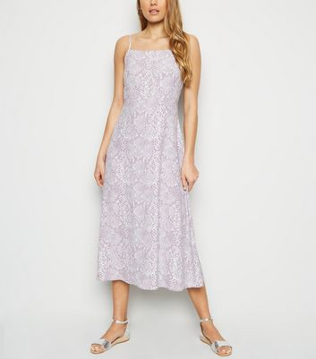 Lilac Snake Print Square Neck Midi Slip Dress