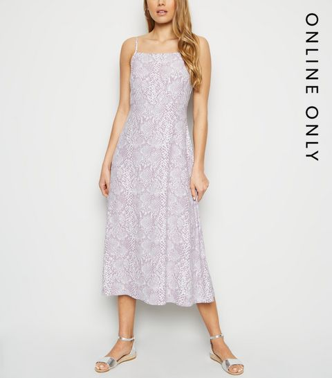 281eaf2778e ... Lilac Snake Print Square Neck Midi Slip Dress ...