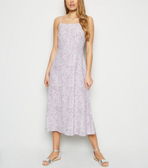 2a3e68a54ed1 ... Lilac Snake Print Square Neck Midi Slip Dress ...