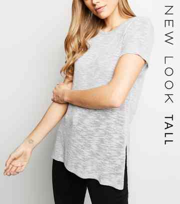 Tall Pale Grey Fine Knit Side Split T-Shirt