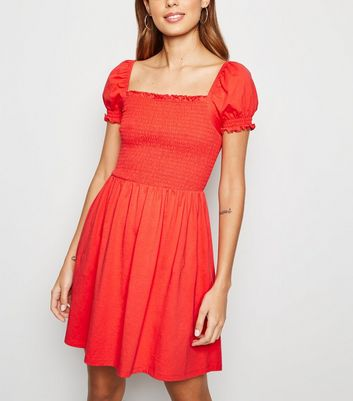 Red Shirred Jersey Milkmaid Dress