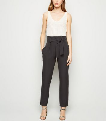 Cameo Rose Black Paperbag Belted Trousers