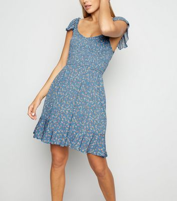 Blue Ditsy Floral Shirred Milkmaid Dress