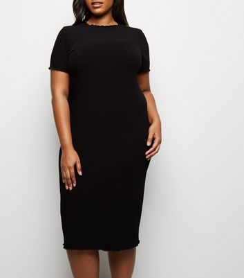 Curves Black Frill Short Sleeve Midi Dress
