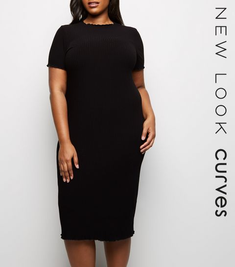 74079323b30 ... Curves Black Frill Short Sleeve Midi Dress ...