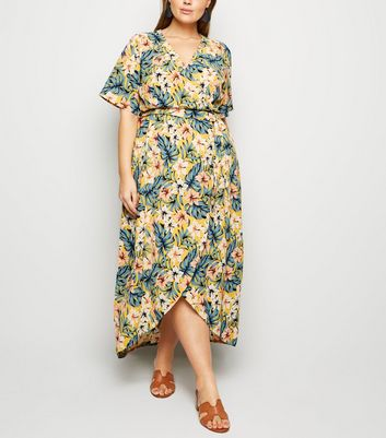 Curves Yellow Tropical Print Wrap Front Midi Dress