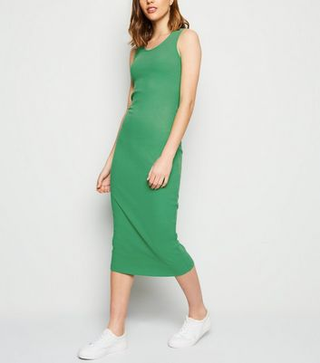 Green Ribbed Bodycon Midi Dress