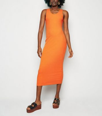 Orange Ribbed Bodycon Midi Dress