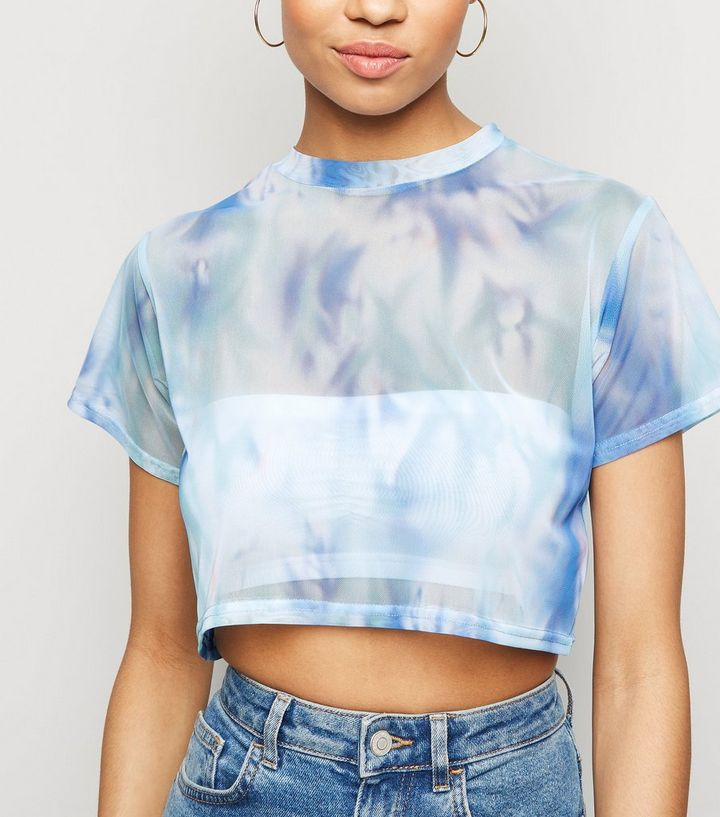 63ab9a57dc99fd Blue Tie Dye Mesh Crop Top | New Look