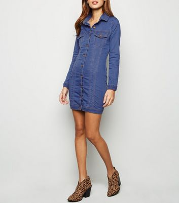 Parisian Bright Blue Stretch Denim Dress