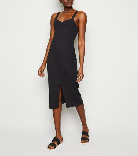 9b013f54ac ... Black Ribbed Front Split Midi Dress ...