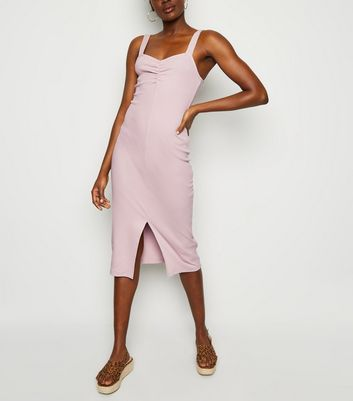 Pale Pink Ribbed Front Split Midi Dress