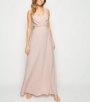 Pale Pink Cross Back Wrap Maxi Dress