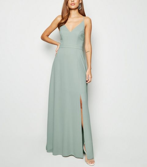 1cf525b63c5 ... Light Green Crochet Back Side Split Maxi Dress ...