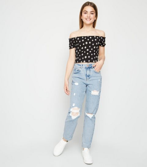 6c723865bed1fe ... Girls Pale Blue Ripped Stretch Mom Jeans ...
