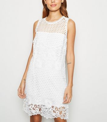 White Crochet Tunic Dress