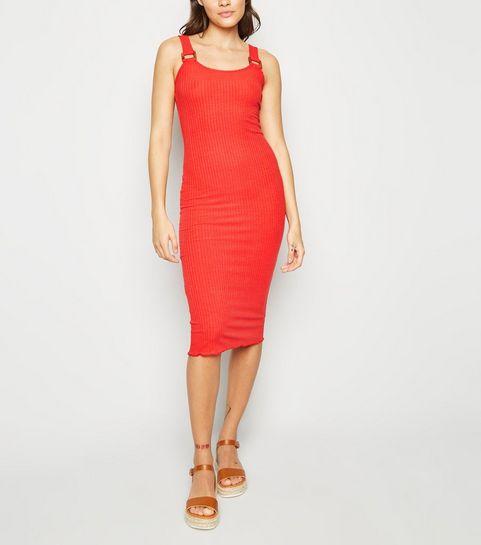 21c4a63317d0 ... Rust Ribbed Buckle Jersey Midi Dress ...
