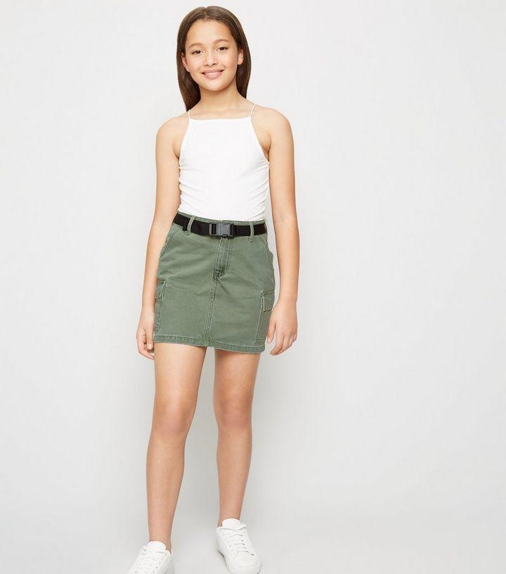 bac9d4317c Girls Khaki Belted Utility Denim Skirt | New Look