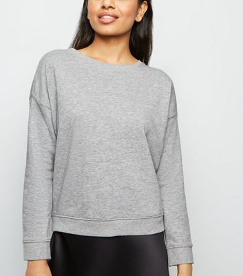 Petite Grey Marl Long Sleeve Sweatshirt