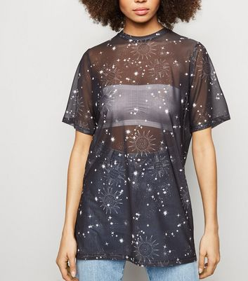 Black Cosmic Print Mesh T-Shirt