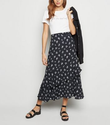 Black Ditsy Floral Tiered Maxi Skirt