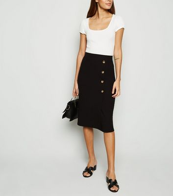 Black Button Front Midi Skirt