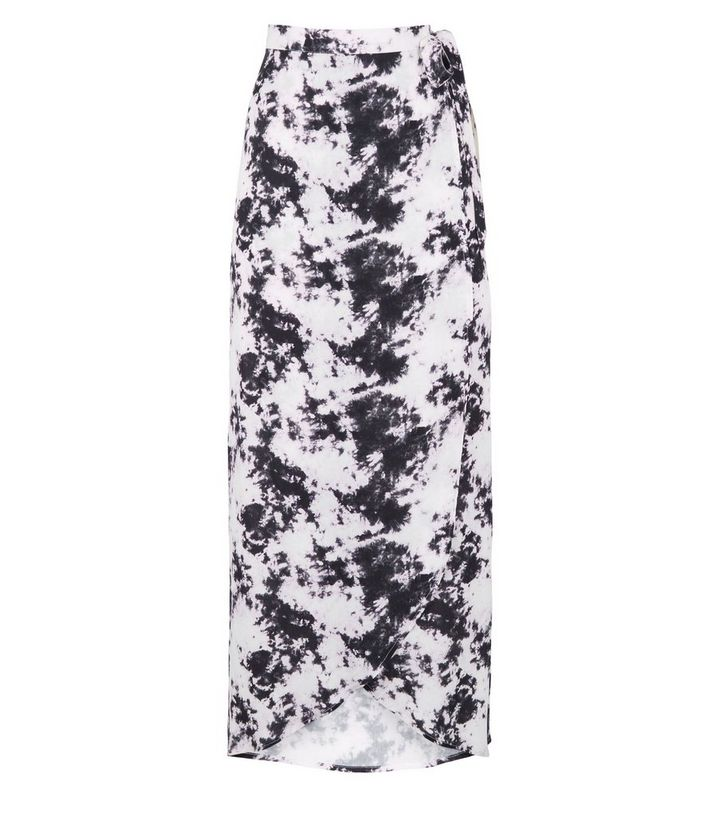 53adf33b0a Black Tie Dye Wrap Maxi Skirt | New Look