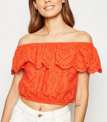 Red Broderie Bardot Crop Top