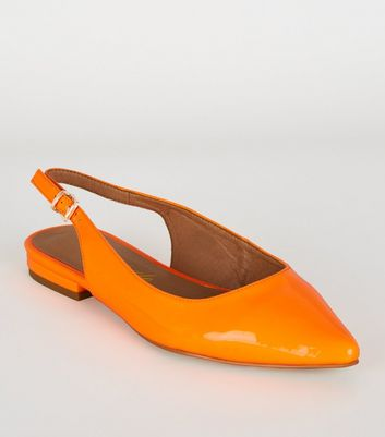 Bright Orange Neon Patent Slingback Pumps