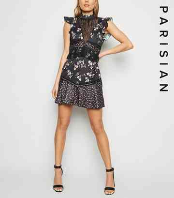 Parisian Black Floral Lace Shift Dress