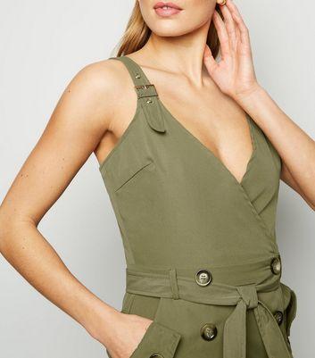Parisian Khaki Wrap Mini Dress New Look