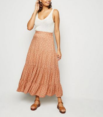 Brown Floral Tiered Midi Skirt