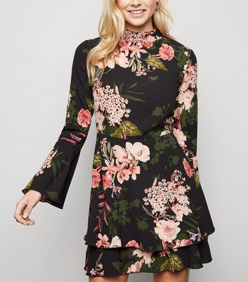 Parisian Black Floral Flare Sleeve Dress